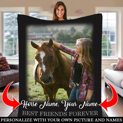 FOREVER BEST FRIENDS HORSE PERSONALIZED BLANKET