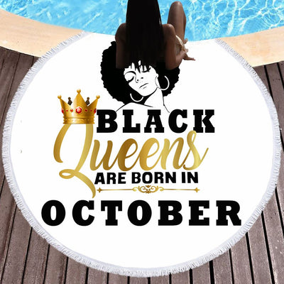 BLACK QUEENS ARE BORN IN OCTOBER BEACH/PICNIC BLANKET