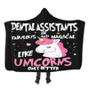 DENTAL ASSISTANT UNICORN HOODED SHERPA BLANKET