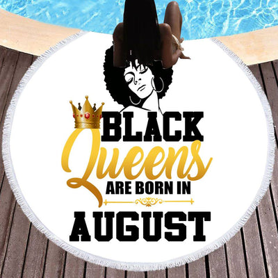 BLACK QUEENS ARE BORN IN AUGUST BEACH/PICNIC BLANKET