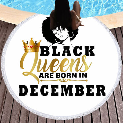 BLACK QUEENS ARE BORN IN DECEMBER BEACH/PICNIC BLANKET