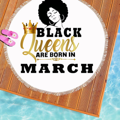 BLACK QUEENS ARE BORN IN MARCH BEACH/PICNIC BLANKET