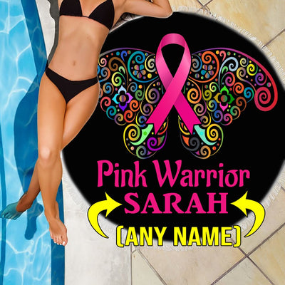 PERSONALIZED BUTTERFLY PINK WARRIOR BEACH/PICNIC BLANKET
