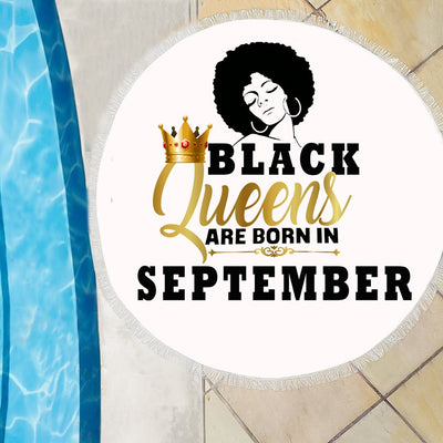 BLACK QUEENS ARE BORN IN SEPTEMBER BEACH/PICNIC BLANKET