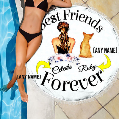 PERSONALIZED BESTFRIEND FOREVER ROUND BEACH/PICNIC BLANKET