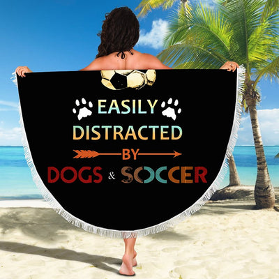 EASILY DISTRACTED BY DOGS AND SOCCER BEACH/PICNIC BLANKET