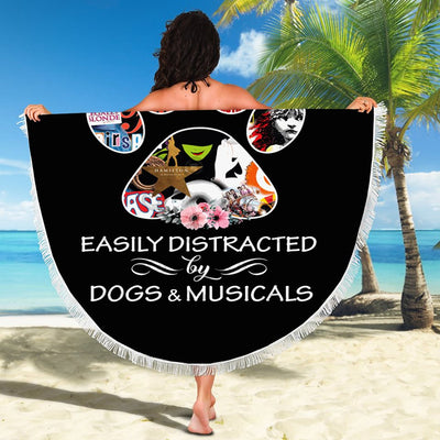 EASILY DISTRACTED BY DOGS AND MUSICALS BEACH/PICNIC BLANKET