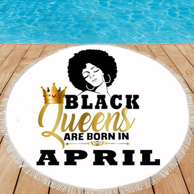 BLACK QUEENS ARE BORN IN APRIL BEACH/PICNIC BLANKET