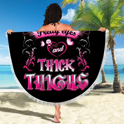 TATTOOS PRETTY EYES AND THICK THIGHS BEACH/PICNIC BLANKET