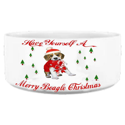 PERSONALIZED BEAGLE DOG BED AND BOWL