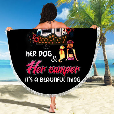 A GIRL HER DOG AND HER CAMPER IT'S A BEAUTIFUL THING BEACH/PICNIC BLANKET
