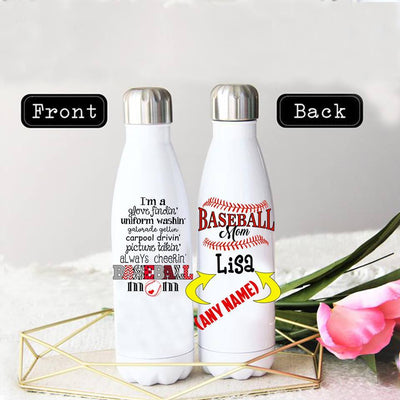 PERSONALIZED BASEBALL MOM STAINLESS STEEL THERMAL BOTTLE