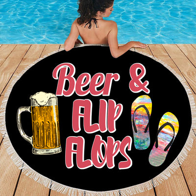 BEER AND FLIP FLOPS BEACH/PICNIC BLANKET