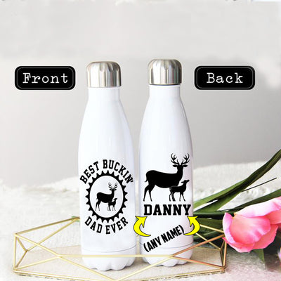 PERSONALIZED BEST BUCKIN' DAD EVER STAINLESS STEEL THERMAL BOTTLE