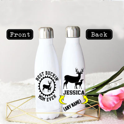 PERSONALIZED BEST BUCKIN' MOM EVER STAINLESS STEEL THERMAL BOTTLE
