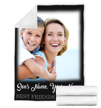 FOREVER BEST FRIENDS SON AND MOTHER PERSONALIZED BLANKET