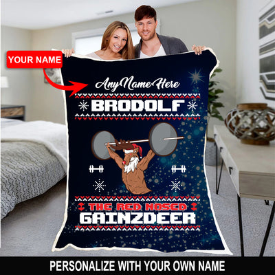 PERSONALIZED BRODOLF CHRISTMAS BLANKET