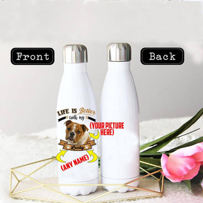 PERSONALIZED  BULLDOG STAINLESS STEEL THERMAL BOTTLE