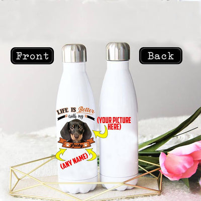 PERSONALIZED DACHSHUND STAINLESS STEEL THERMAL BOTTLE