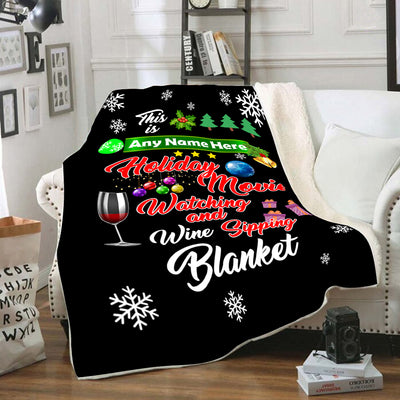 Personalized holiday movie watching blanket