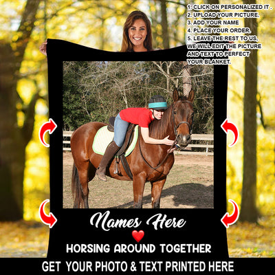 PERSONALIZED HORSING AROUND BLANKET