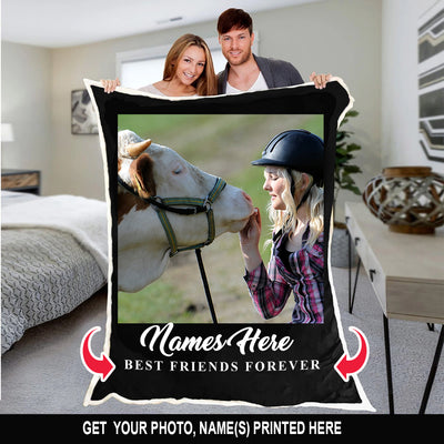 FOREVER BEST FRIENDS COW PERSONALIZED BLANKET
