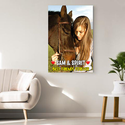 Best Friends Forever Personalized Name Horse Canvas