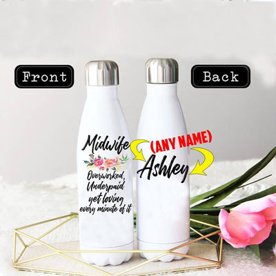 PERSONALIZED MIDWIFE'S LOVE STAINLESS STEEL THERMAL BOTTLE