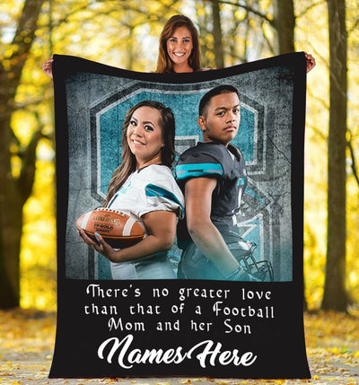 Mom and Son Custom Football Blanket