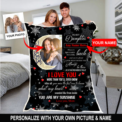 Personalized mom and daughter blanket