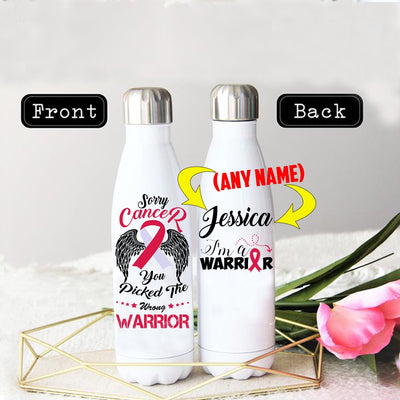 PERSONALIZED HEAD & NECK CANCER AWARENESS THERMOS BOTTLE