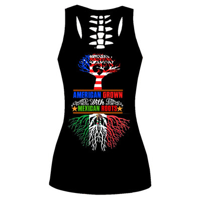 AMERICAN GROWN WITH MEXICAN ROOTS 3D PRINT TANK TOP AND LEGGINGS