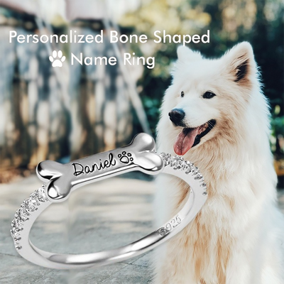 Personalized Bone Shaped Name Ring in 925 Silver