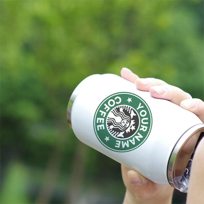 PERSONALIZED INSULATED VACUUM CUP STAINLESS COLA CAN BOTTLE WITH STRAW