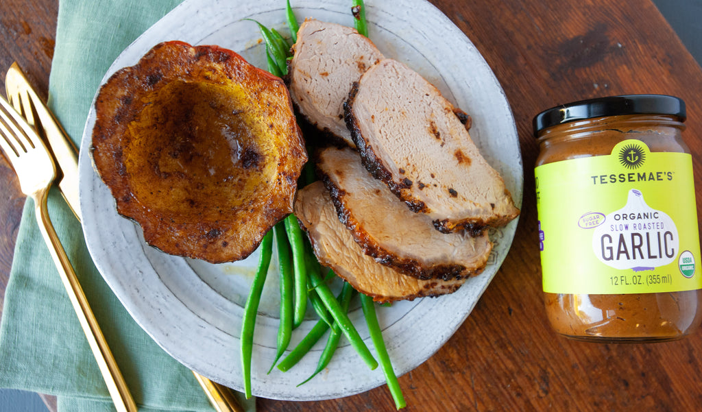 Garlic Roast Pork with Pumpkin Spiced Acorn Squash