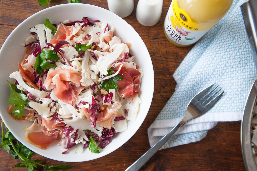 Shaved Cauliflower Salad with Prosciutto & Toasted Hazelnuts
