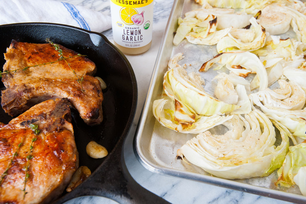 Thick-Cut Pork Chops & Crispy Cabbage