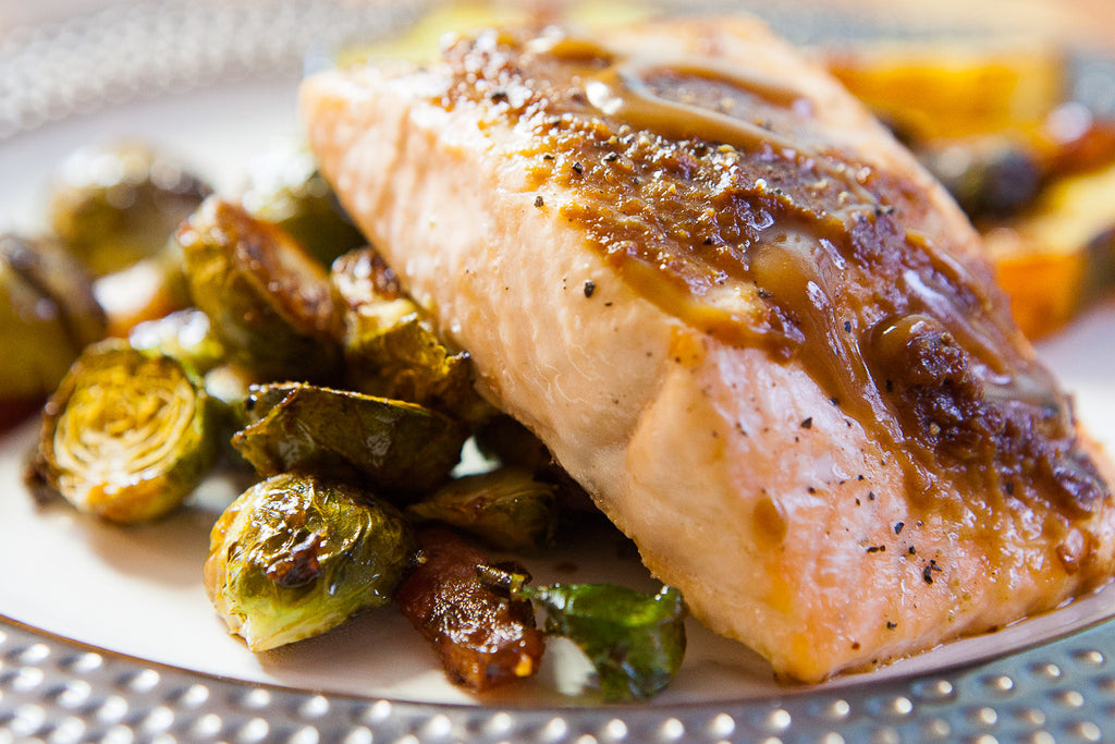 One Pan Honey Balsamic Salmon with Bacon Brussels Sprouts