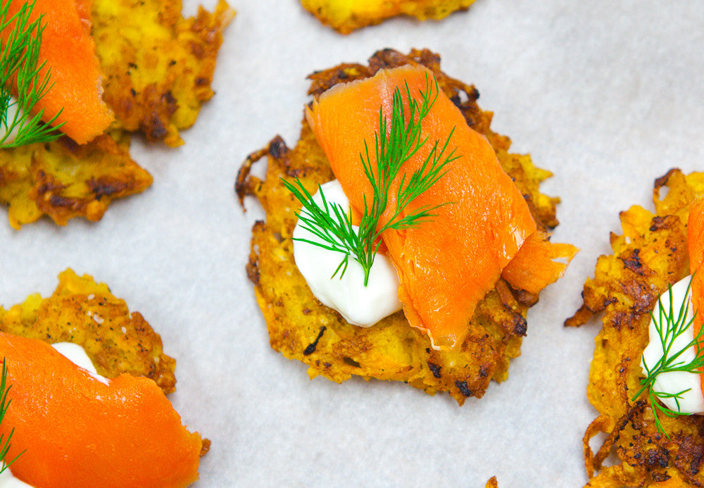 Sweet Potato & Apple Pancakes with Smoked Salmon