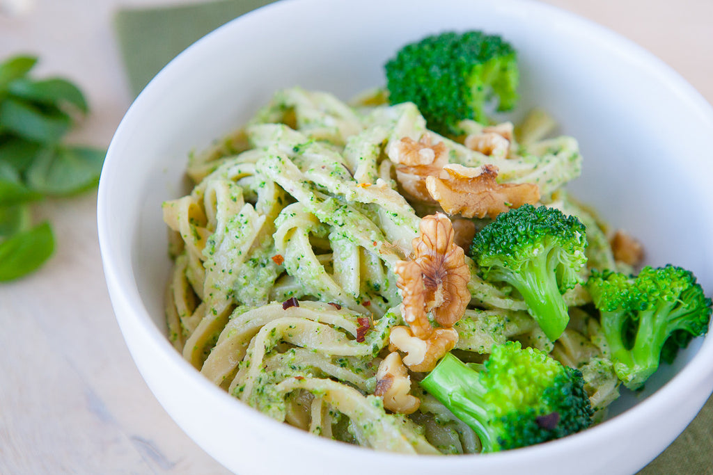 Almond Pasta with Broccoli Pesto