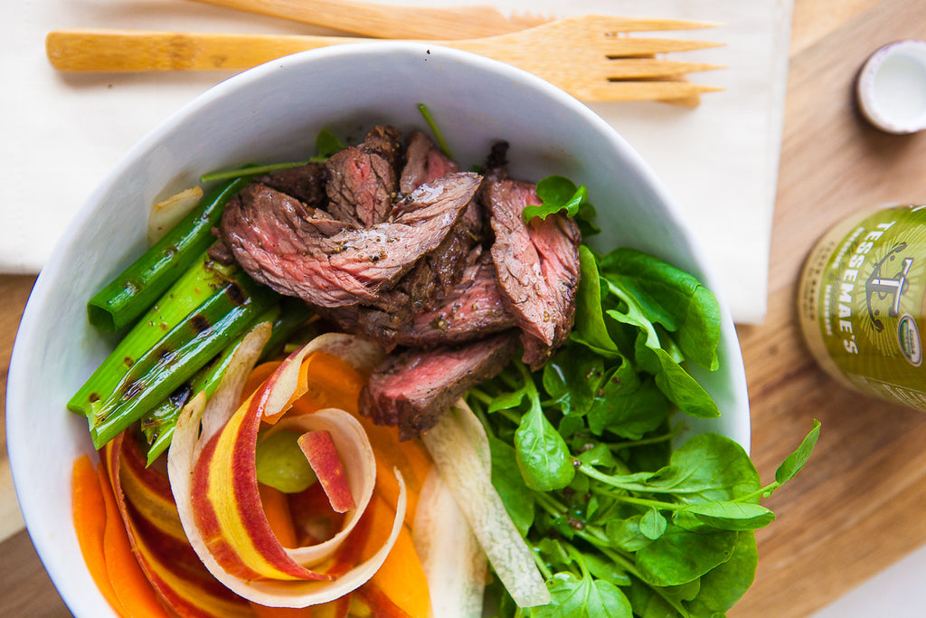 Grilled Skirt Steak with Spring Carrots & Watercress