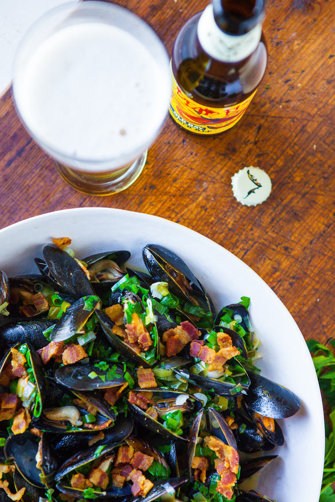 Beer Steamed Mussels with Bacon & Dijon