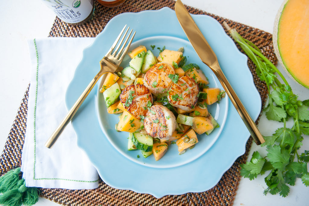 Scallops with Cantaloupe & Cucumber Salad