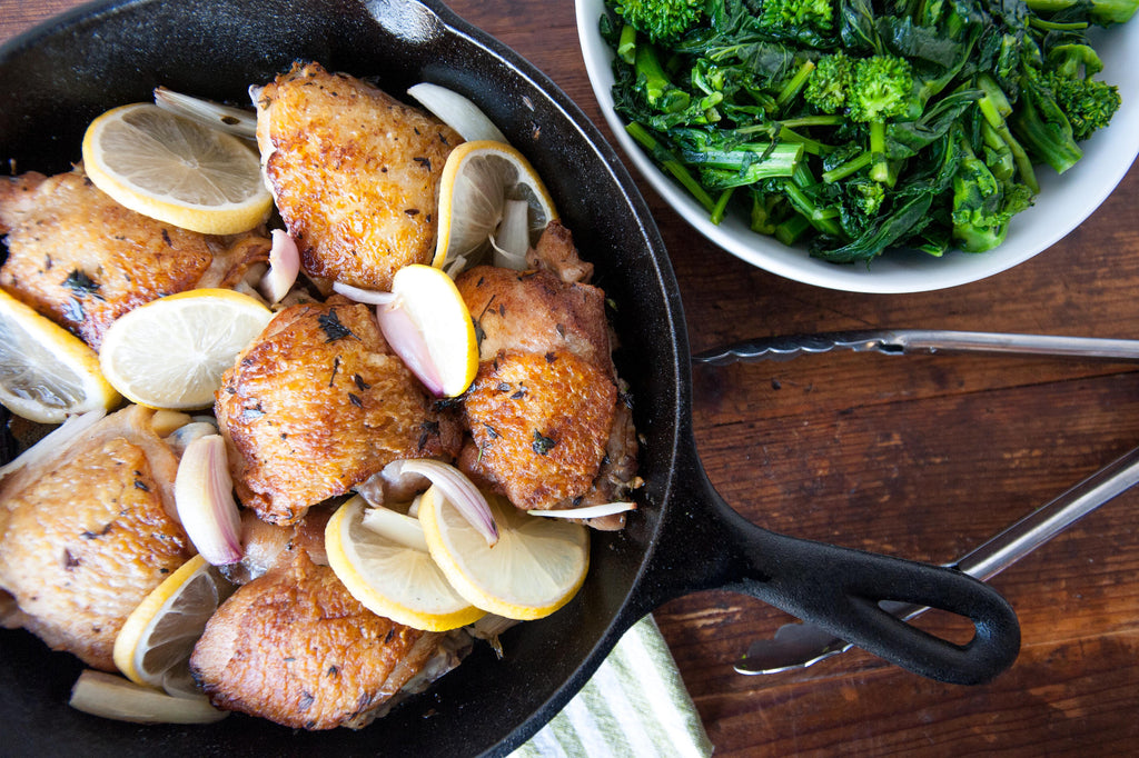 Lemon Thyme Chicken Thighs with Broccoli Rabe