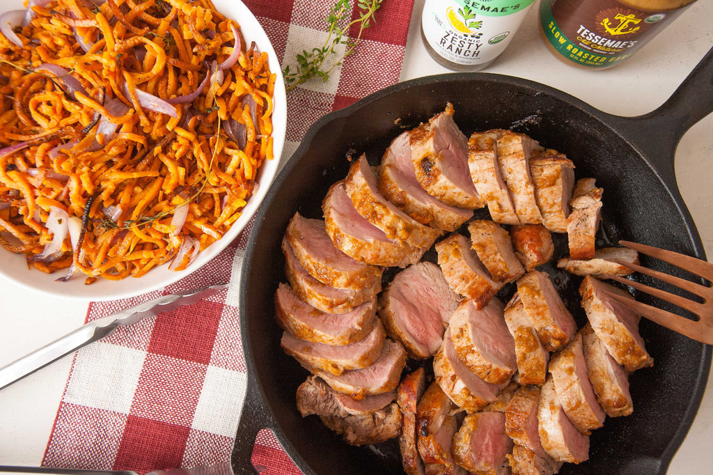 Roast Pork Tenderloin with Thyme-Infused Sweet Potato Noodles