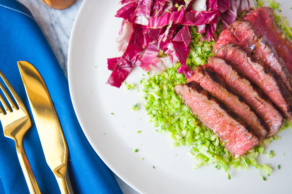 Strip Steak with Radicchio Salad & Broccoli Rice