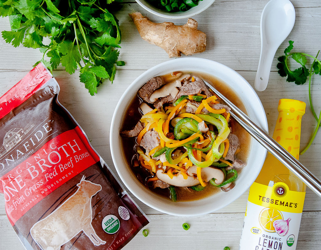 Ginger Beef Zoodle Soup