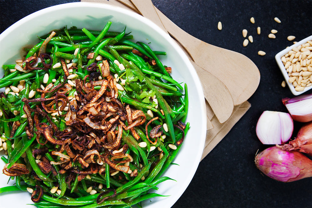 Honey Balsamic Green Beans with Crispy Fried Shallots