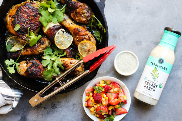 Garlic Jerk Chicken with Strawberry Salsa