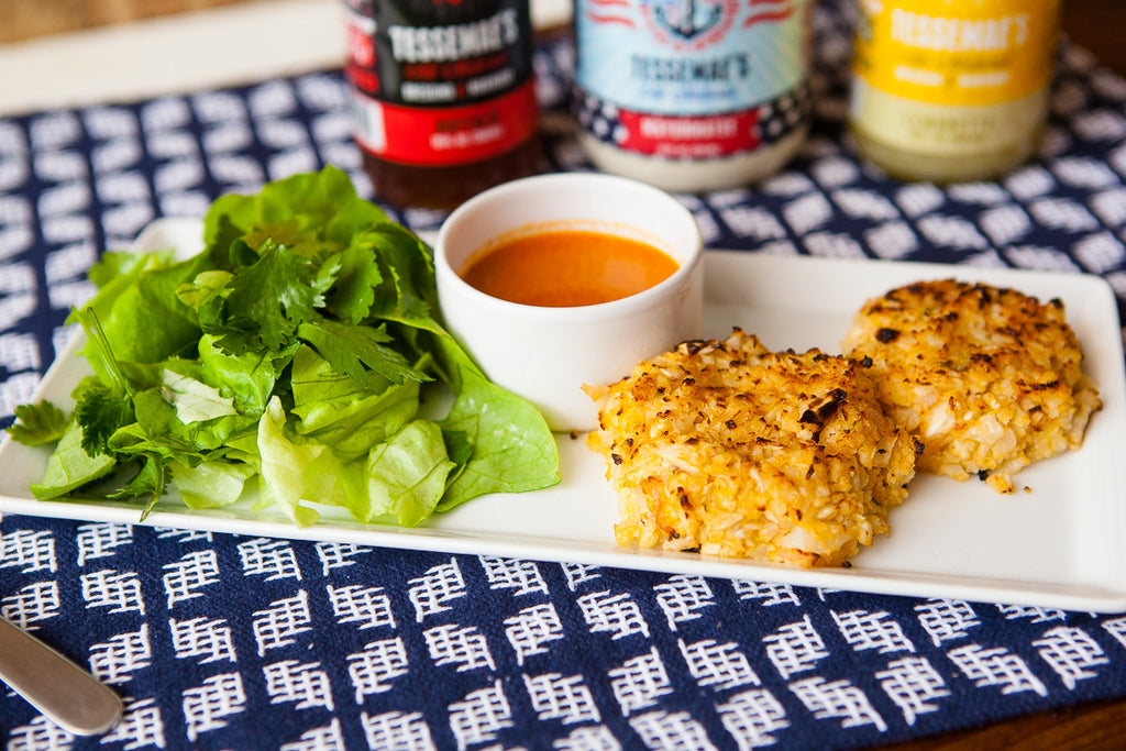Buffalo Cauliflower Cakes & Herb Salad